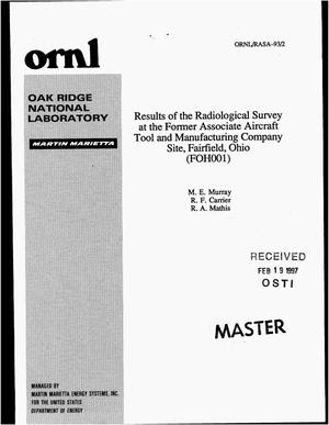 Primary view of object titled 'Results of the radiological survey at the former Associate Aircraft Tool and Manufacturing Company site, Fairfield, Ohio (FOH001)'.