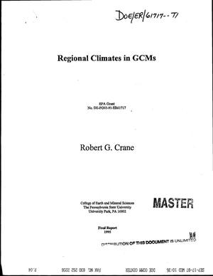 Primary view of object titled 'Regional climates in GCMs. Final report'.