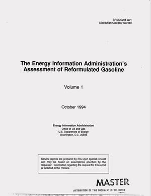 Primary view of object titled 'The Energy Information Administration`s assessment of reformulated gasoline. Volume 1'.