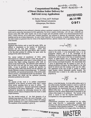 Primary view of object titled 'Computational modeling of direct molten solder delivery for ball grid array applications'.