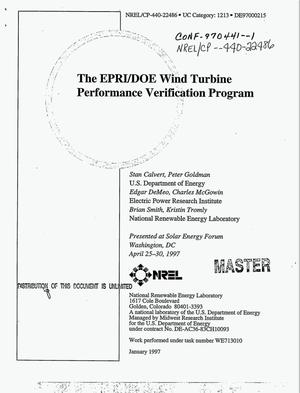 Primary view of object titled 'The EPRI/DOE Utility Wind Turbine Performance Verification Program'.