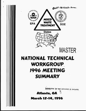 Primary view of object titled 'The 1996 meeting of the national technical workgroup on mixed waste thermal treatment'.