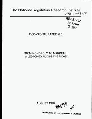 Primary view of object titled 'From monopoly to markets: Milestones along the road. Occasional paper {number_sign}25'.