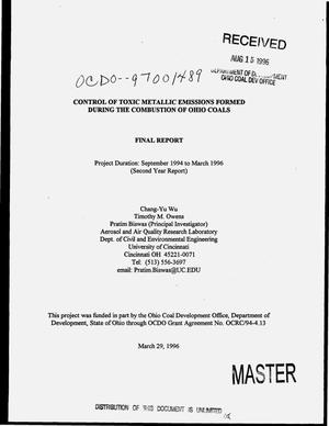 Primary view of object titled 'Control of toxic metallic emissions formed during the combustion of Ohio coals. Final report, September 1994--March 1996'.