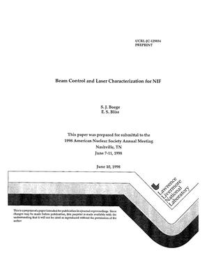 Primary view of object titled 'Beam control and laser characterization for NIF'.