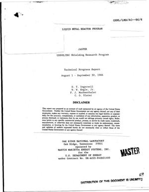 Primary view of object titled 'Liquid Metal Reactor Program: JASPER USDOE/PNC Shielding Research Program: Technical progress report, August 1-September 30, 1986'.