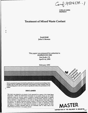 Primary view of object titled 'Treatment of mixed waste coolant'.