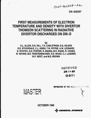 Primary view of object titled 'First measurements of electron temperature and density with divertor Thomson Scattering in radiative divertor discharges on DIII-D'.
