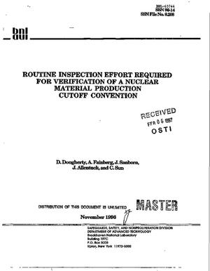 Primary view of object titled 'Routine inspection effort required for verification of a nuclear material production cutoff convention'.
