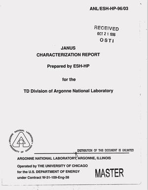 Primary view of object titled 'JANUS characterization report'.