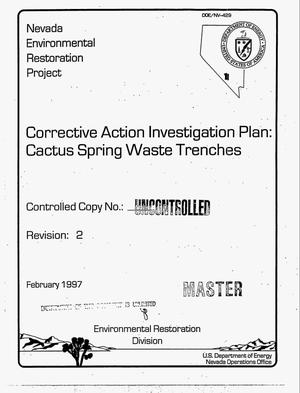 Primary view of object titled 'Corrective action investigation plan: Cactus Spring Waste Trenches. Revision 2'.