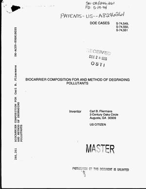 Primary view of object titled 'Biocarrier Composition for and Method of Degrading Pollutants'.