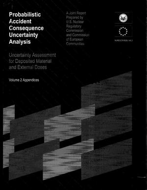 Primary view of object titled 'Probabilistic accident consequence uncertainty analysis -- Uncertainty assessment for deposited material and external doses. Volume 2: Appendices'.