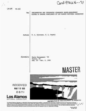 Primary view of object titled 'Implementing an integrated standards-based management system to ensure compliance at Los Alamos National Laboratory'.