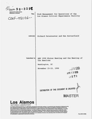 Primary view of object titled 'Risk management for operations of the Los Alamos critical experiments facility'.