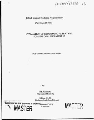 Primary view of object titled 'Evaluation of hyperbaric filtration for fine coal dewatering. Quarterly technical progress report, 1996'.