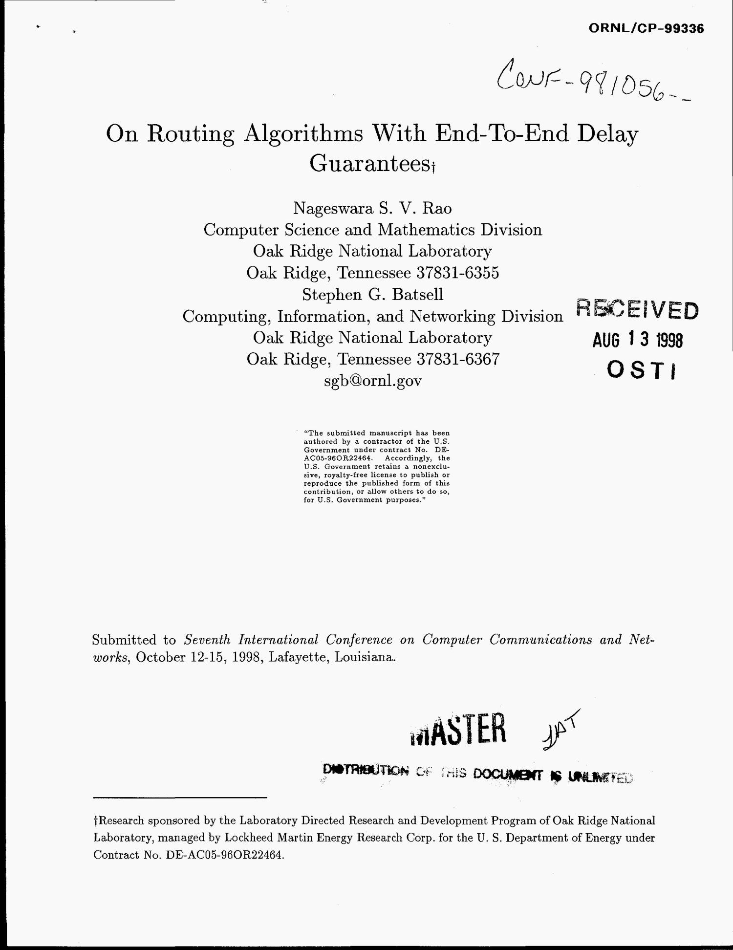 On routing algorithms with end-to-end delay guarantees                                                                                                      [Sequence #]: 1 of 12