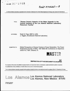 Primary view of object titled 'Human factors aspects of the major upgrade to control systems at the Los Alamos National Laboratory Plutonium Facility'.