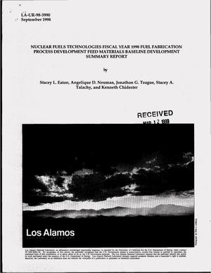 Primary view of object titled 'Nuclear fuels technologies fiscal year 1998 feed materials baseline development summary report'.