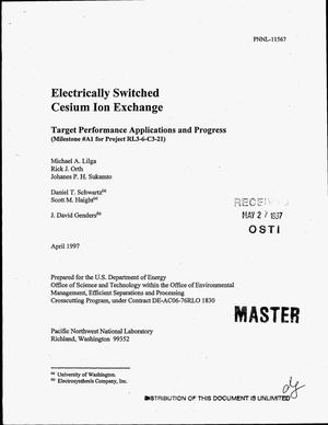 Primary view of object titled 'Electrically switched cesium ion exchange'.