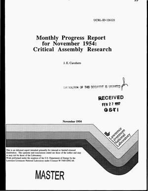 Primary view of object titled 'Monthly progress report for November 1954: Critical assembly research'.