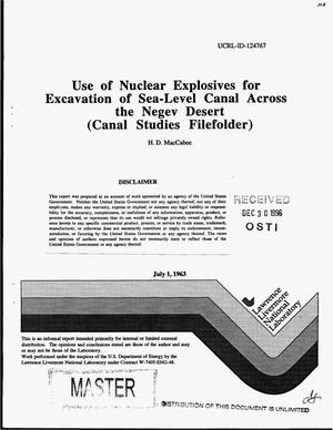 Primary view of object titled 'Use of nuclear explosives for excavation of a sea-level canal across the Negev Desert in Israel, connecting the Mediterranean with the Gulf of Aqaba'.
