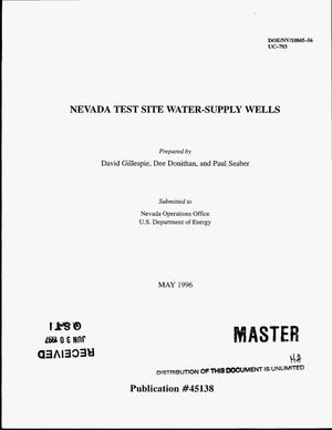 Primary view of object titled 'Nevada test site water-supply wells'.