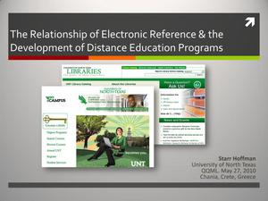 Primary view of object titled 'The Relationship of Electronic Reference and the Development of Distance Education Programs'.