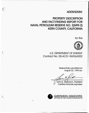 Primary view of object titled 'Property description and fact-finding report for NPR-2, Buena Vista Hills Field, Kern County, California'.
