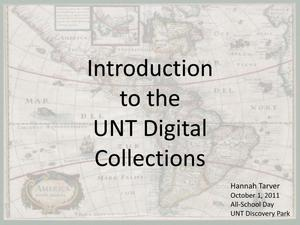 Primary view of object titled 'Introduction to the UNT Digital Collections'.