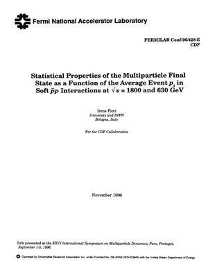Primary view of object titled 'Statistical properties of the multiparticle final state as a function of the average event in p{sub t} in soft {anti p}p interactions at {radical}s = 1800 and 630 GeV'.