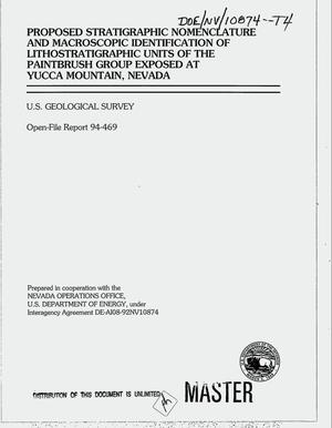Primary view of object titled 'Proposed stratigraphic nomenclature and macroscopic identification of lithostratigraphic units of the Paintbrush Group exposed at Yucca Mountain, Nevada'.