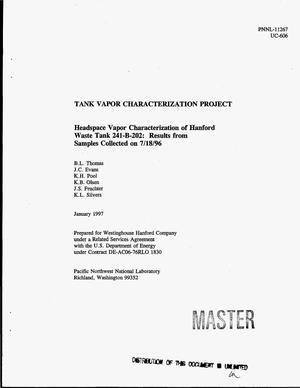 Primary view of object titled 'Headspace vapor characterization of Hanford waste tank 241-B-202: Results from samples collected on 7/18/96'.