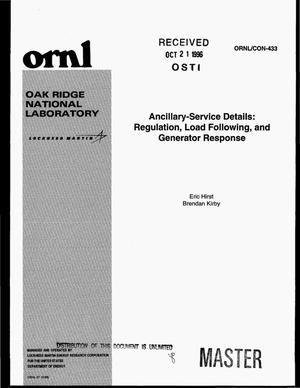 Primary view of object titled 'Ancillary-service details: regulation, load following, and generator response'.