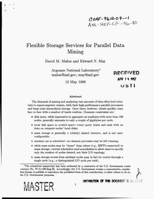 Primary view of object titled 'Flexible storage services for parallel data mining'.