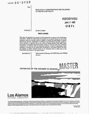 Primary view of object titled 'Biological assessment for the transfer of the DP land tract'.
