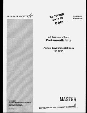 Primary view of object titled 'US Department of Energy Portsmouth Site. Annual environmental data for 1994'.