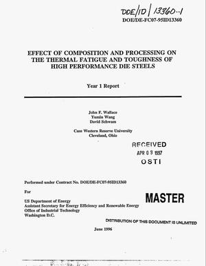 Primary view of object titled 'Effect of composition and processing on the thermal fatigue and toughness of high performance die steels. Year 1 report'.