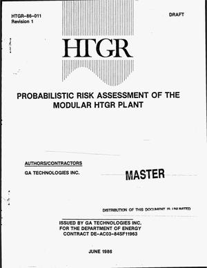 Primary view of object titled 'Probabilistic risk assessment of the modular HTGR plant. Revision 1'.