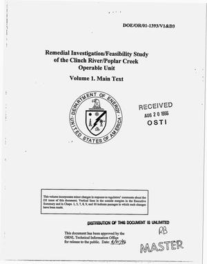 Primary view of object titled 'Remedial investigation/feasibility study of the Clinch River/Poplar Creek operable unit. Volume 1: Main text'.