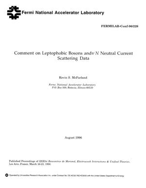 Primary view of object titled 'Comment on Leptophobic Bosons and nu N Neutral Current Scattering Data'.