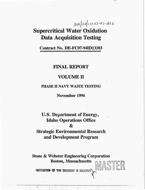 Primary view of object titled 'Supercritical water oxidation data acquisition testing. Final report, Volume II'.