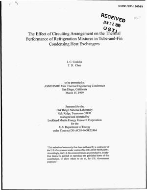 Primary view of object titled 'The Effect of Circuiting Arrangement on the Thermal Performance of Refrigeration Mixtures in Tube-and-Fin Condensing Heat Exchangers'.