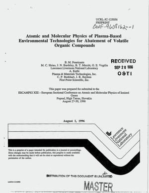 Primary view of object titled 'Atomic and molecular physics of plasma-based environmental technologies for abatement of volatile organic compounds'.