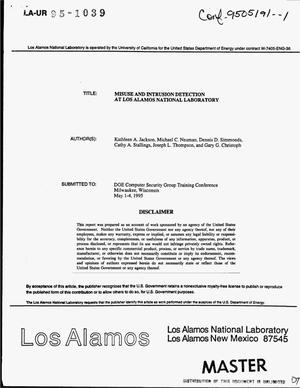 Primary view of object titled 'Misuse and intrusion detection at Los Alamos National Laboratory'.