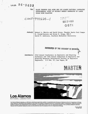 Primary view of object titled 'Black Thunder Coal Mine and Los Alamos National Laboratory experimental study of seismic energy generated by large scale mine blasting'.