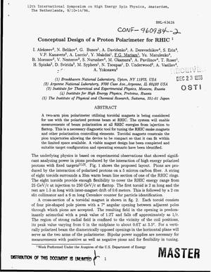 Primary view of object titled 'Conceptual design of a proton polarimeter for RHIC'.