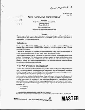 Primary view of object titled 'Web document engineering'.