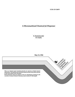 Primary view of object titled 'Micromachined chemical jet dispenser'.