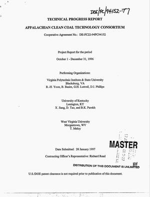 Primary view of object titled 'Appalachian clean coal technology consortium. Technical quarterly progress report, October 1, 1996--December 31, 1996'.